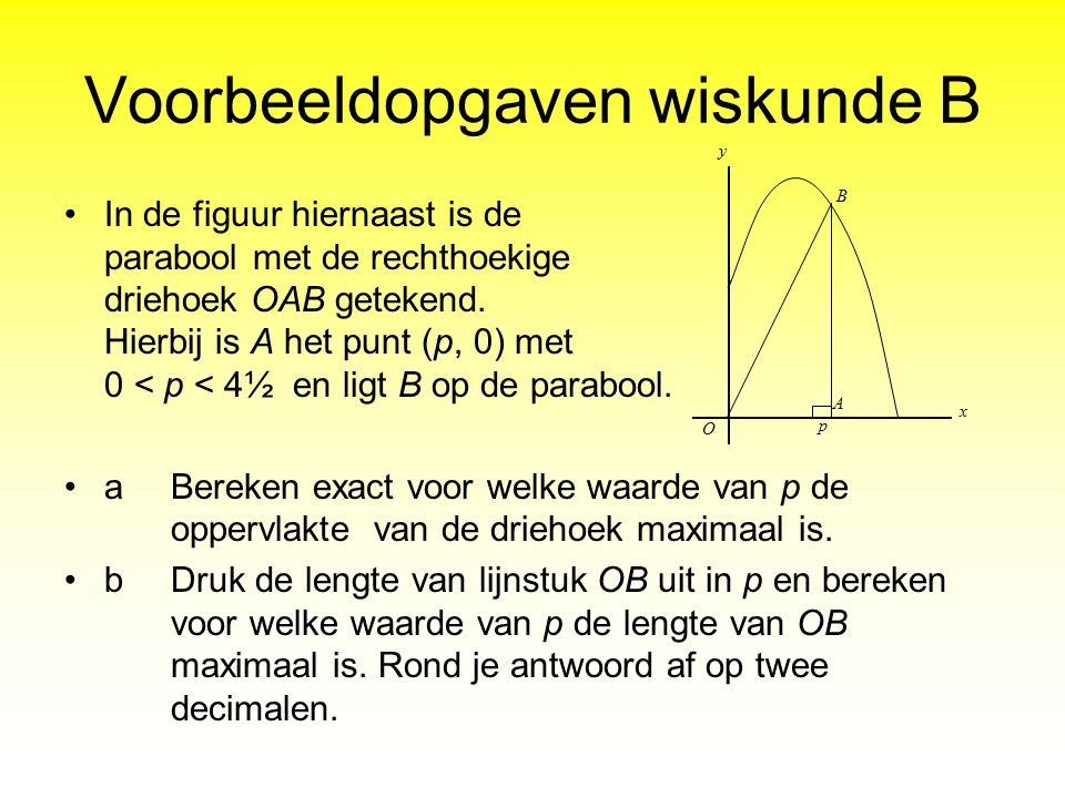 Voorbeeldopgaven wiskunde B