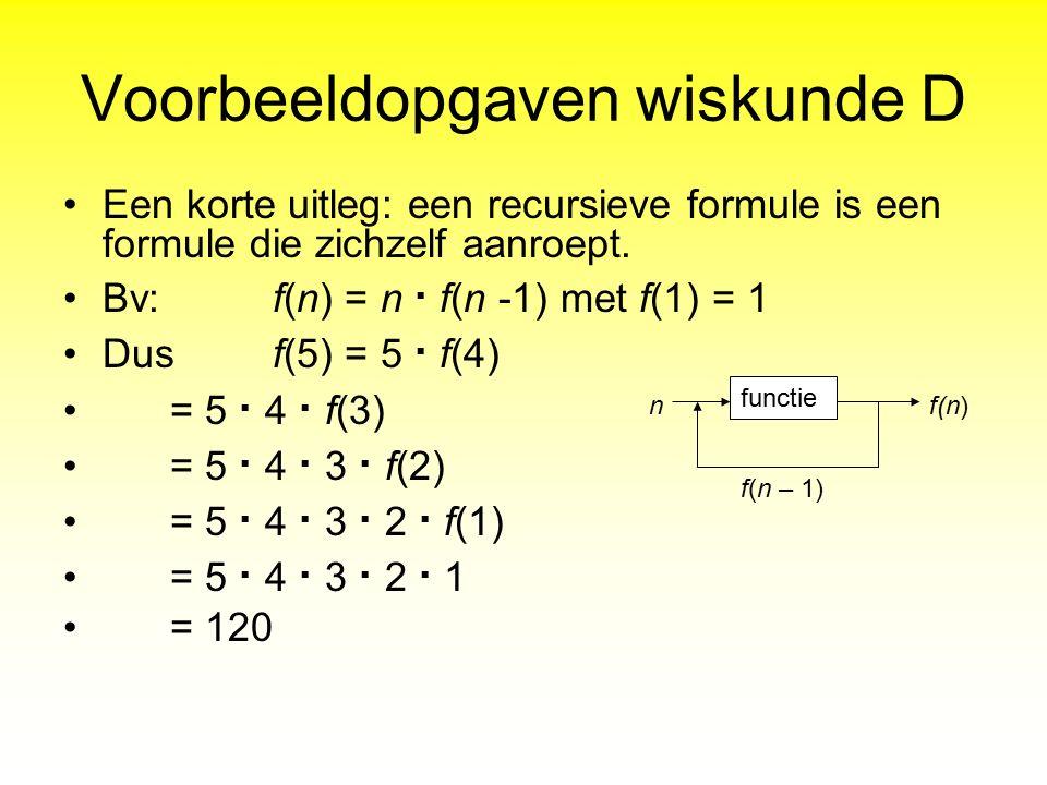 Voorbeeldopgaven wiskunde D