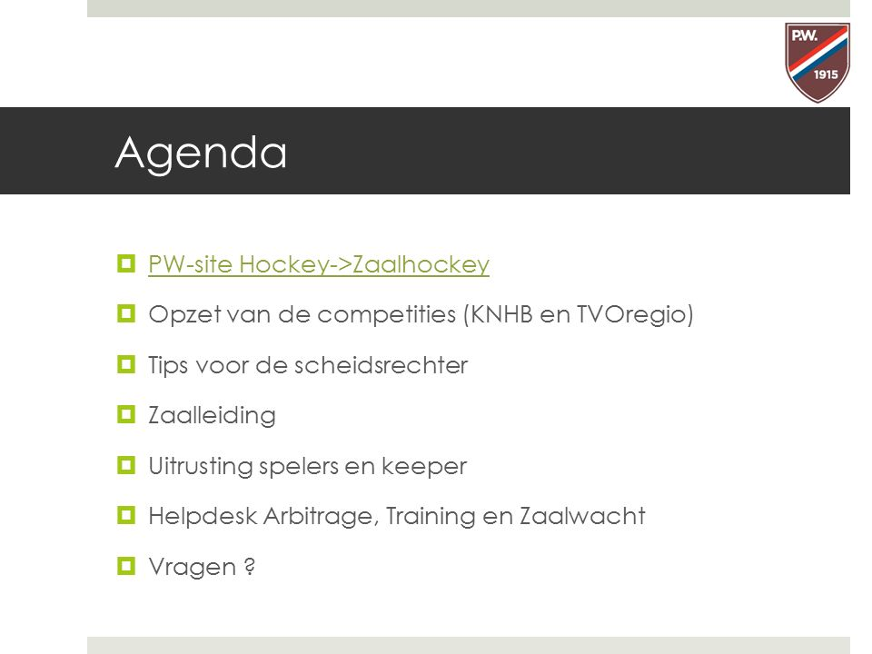 Agenda PW-site Hockey->Zaalhockey