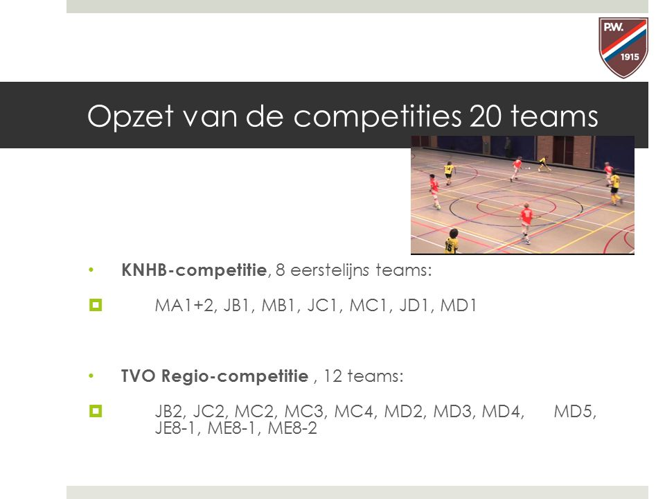 Opzet van de competities 20 teams