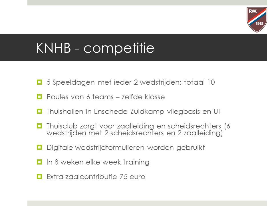 KNHB - competitie 5 Speeldagen met ieder 2 wedstrijden: totaal 10