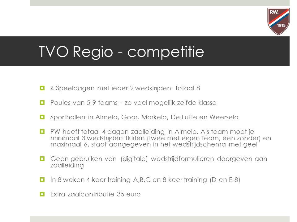 TVO Regio - competitie 4 Speeldagen met ieder 2 wedstrijden: totaal 8