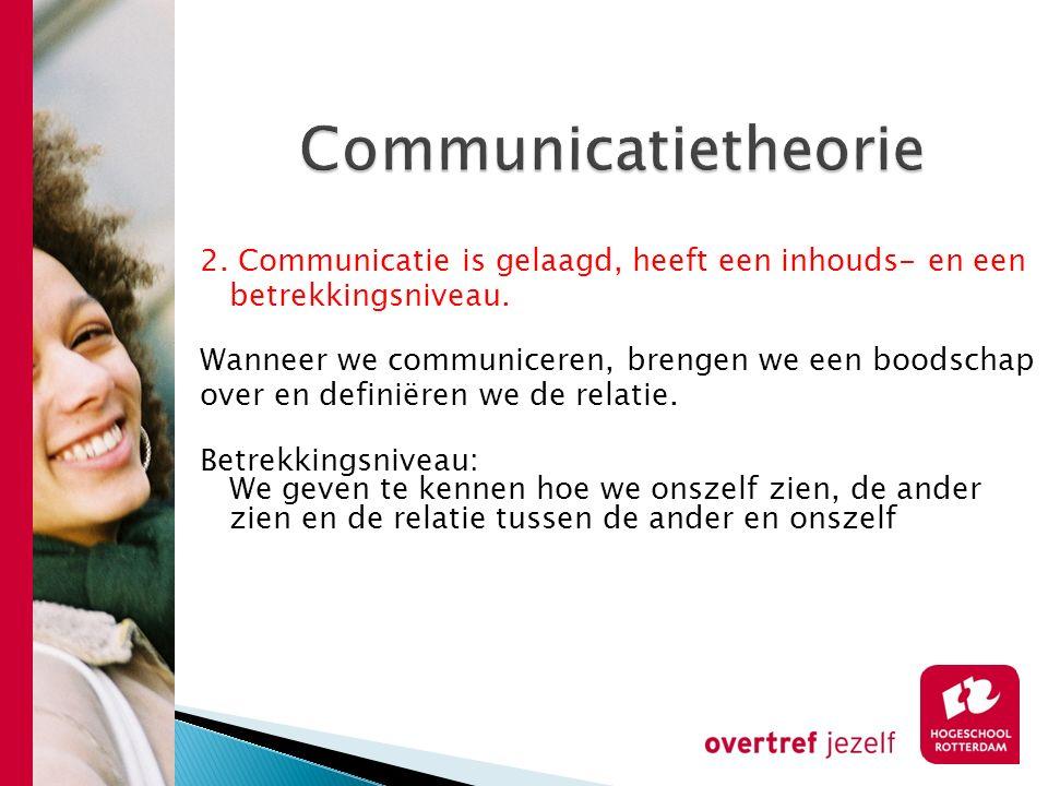 Communicatietheorie 2. Communicatie is gelaagd, heeft een inhouds- en een. betrekkingsniveau. Wanneer we communiceren, brengen we een boodschap.