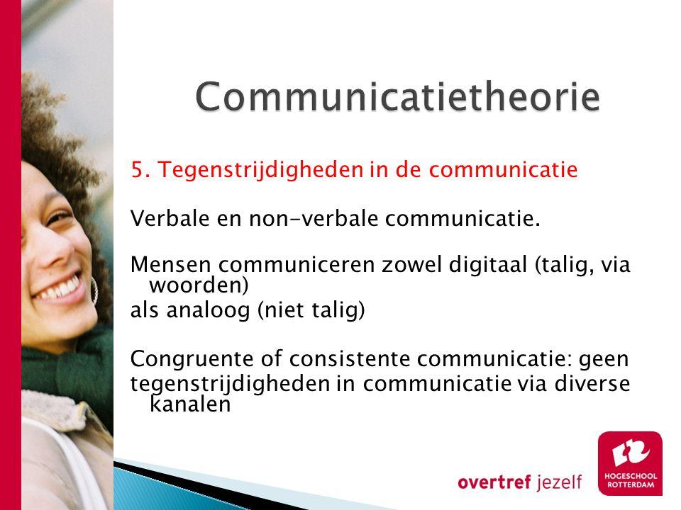 Communicatietheorie 5. Tegenstrijdigheden in de communicatie