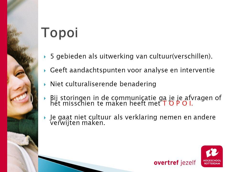 Topoi 5 gebieden als uitwerking van cultuur(verschillen).