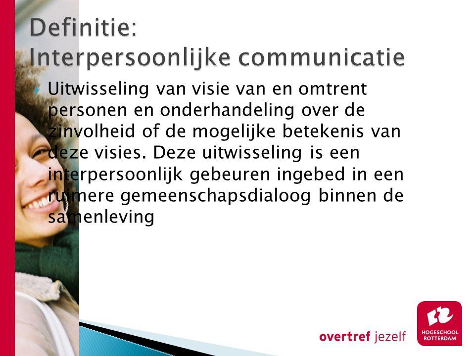 Definitie: Interpersoonlijke communicatie