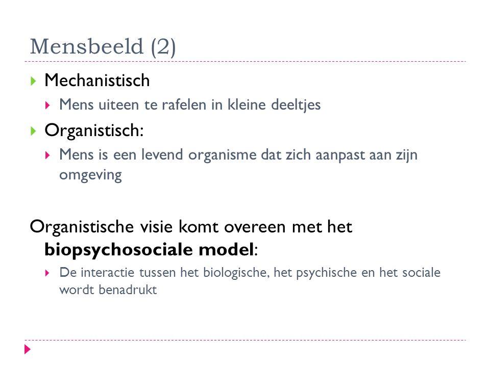Mensbeeld (2) Mechanistisch Organistisch: