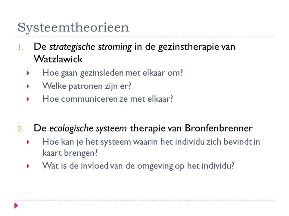 Systeemtheorieen De strategische stroming in de gezinstherapie van Watzlawick. Hoe gaan gezinsleden met elkaar om
