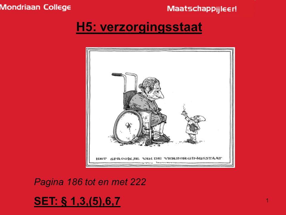 H5: verzorgingsstaat Pagina 186 tot en met 222 SET: § 1,3,(5),6,7
