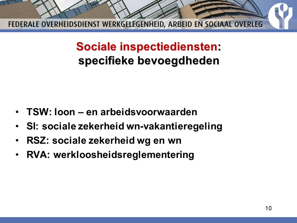 Sociale inspectiediensten: specifieke bevoegdheden