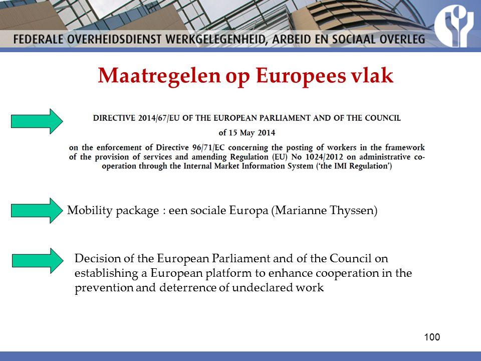 Maatregelen op Europees vlak