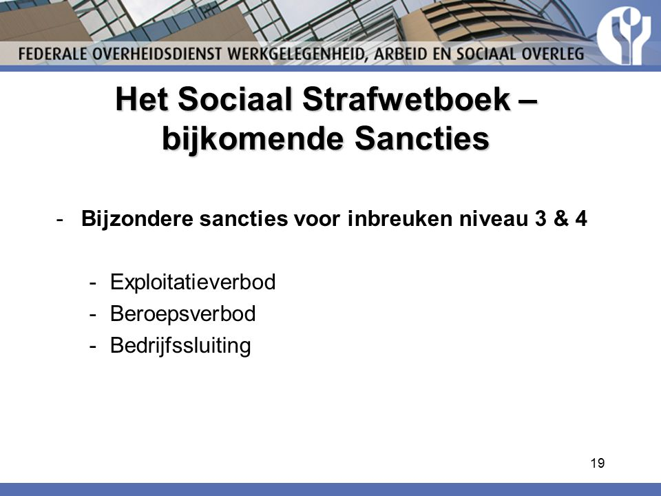 Het Sociaal Strafwetboek – bijkomende Sancties