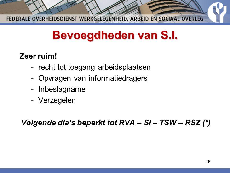 Bevoegdheden van S.I. Zeer ruim! recht tot toegang arbeidsplaatsen