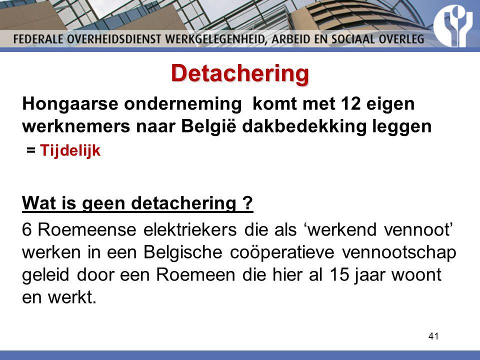 Detachering Hongaarse onderneming komt met 12 eigen werknemers naar België dakbedekking leggen. = Tijdelijk.