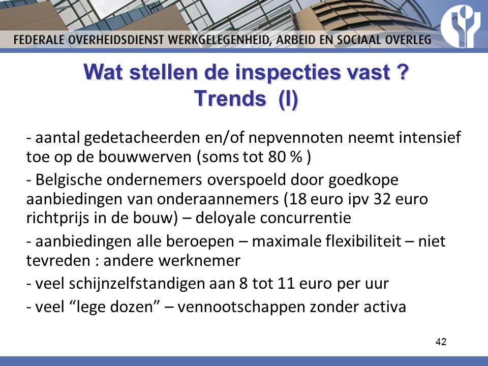 Wat stellen de inspecties vast Trends (I)