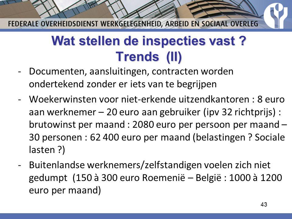 Wat stellen de inspecties vast Trends (II)
