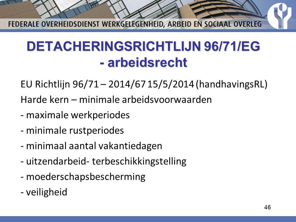 DETACHERINGSRICHTLIJN 96/71/EG - arbeidsrecht