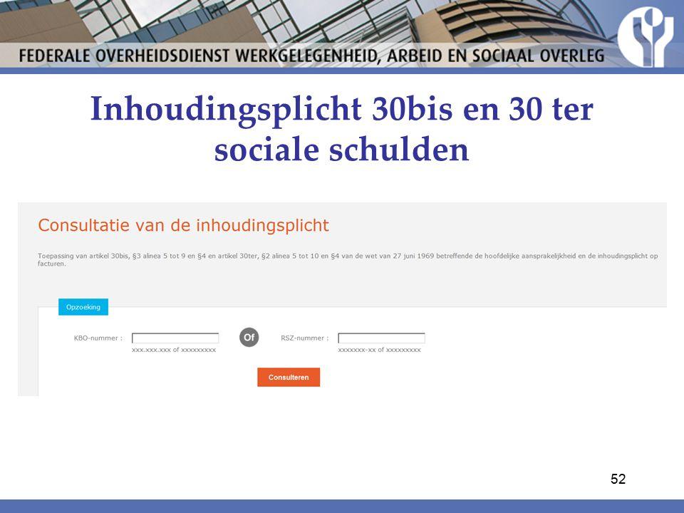 Inhoudingsplicht 30bis en 30 ter sociale schulden