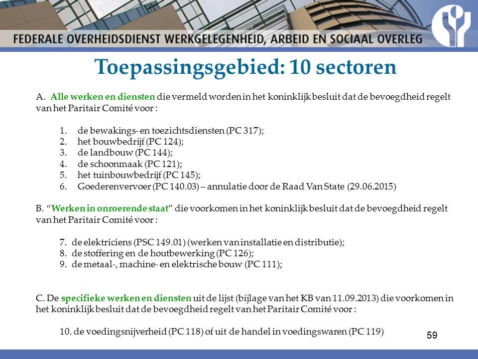 Toepassingsgebied: 10 sectoren
