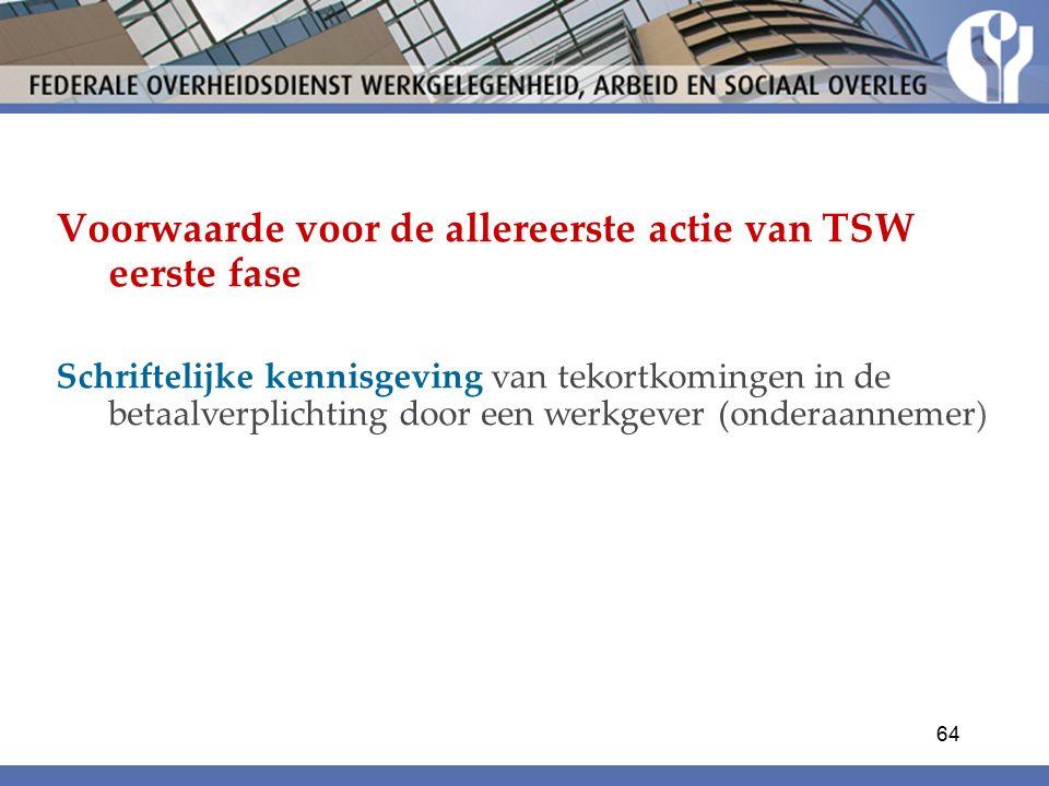 Voorwaarde voor de allereerste actie van TSW eerste fase