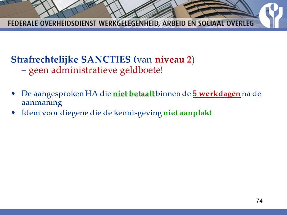 Strafrechtelijke SANCTIES (van niveau 2) – geen administratieve geldboete!