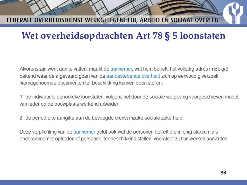 Wet overheidsopdrachten Art 78 § 5 loonstaten