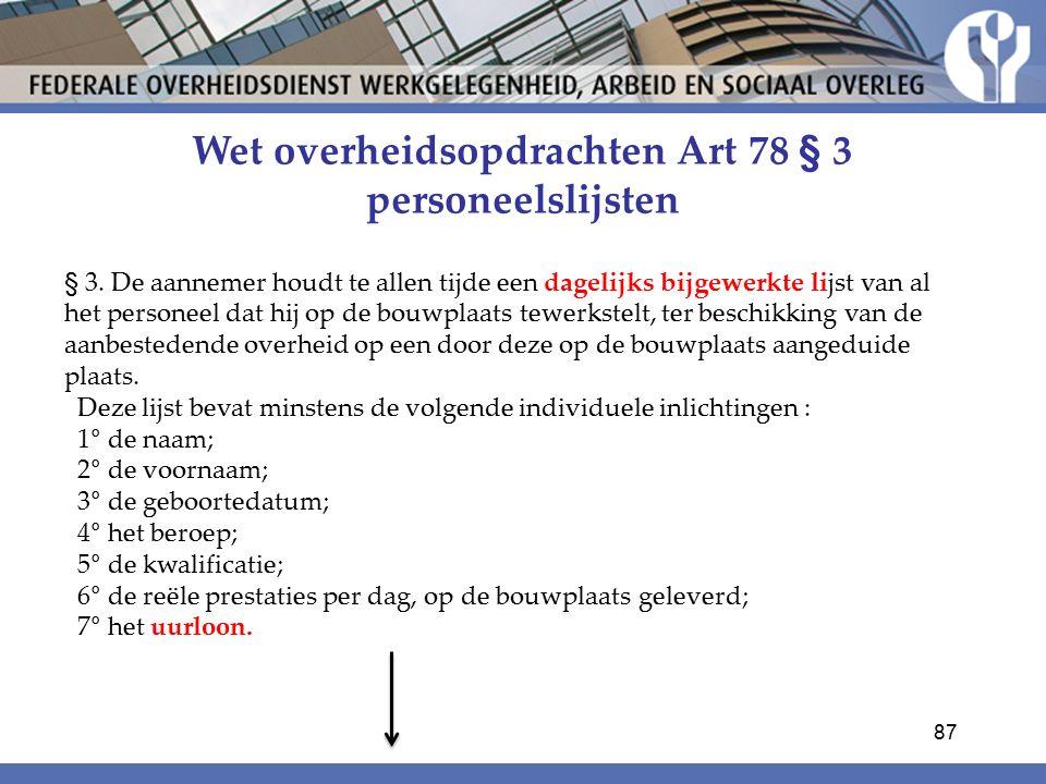 Wet overheidsopdrachten Art 78 § 3 personeelslijsten