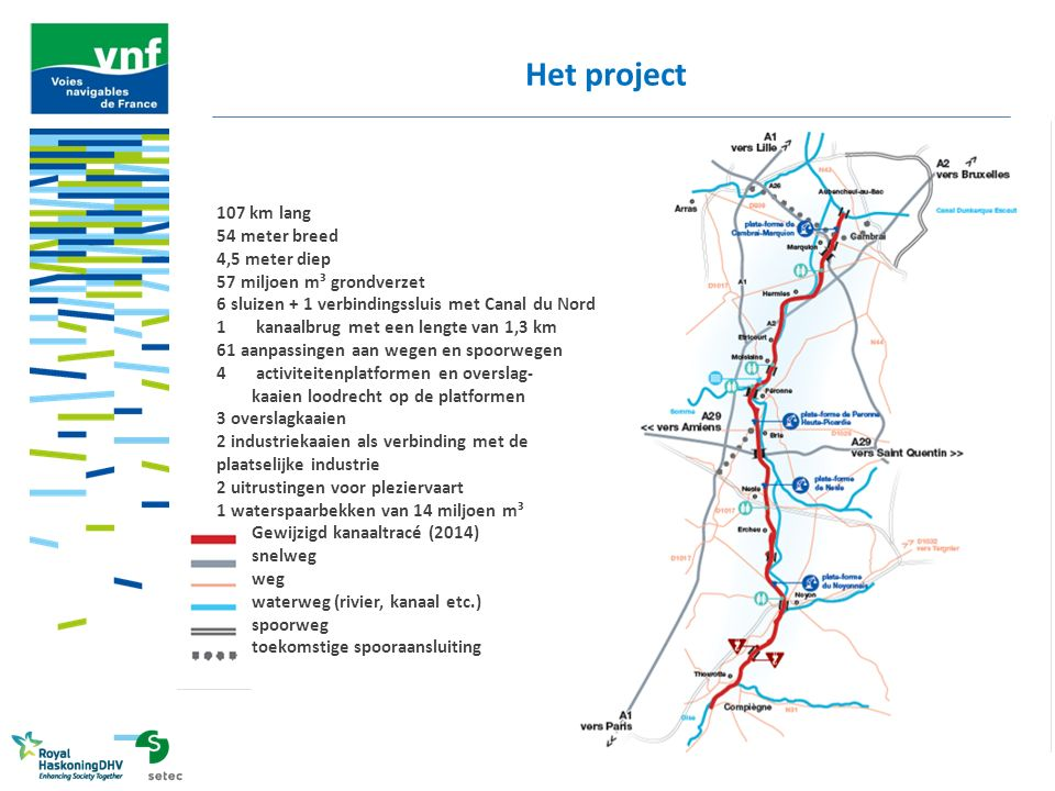 Het project 107 km lang 54 meter breed 4,5 meter diep