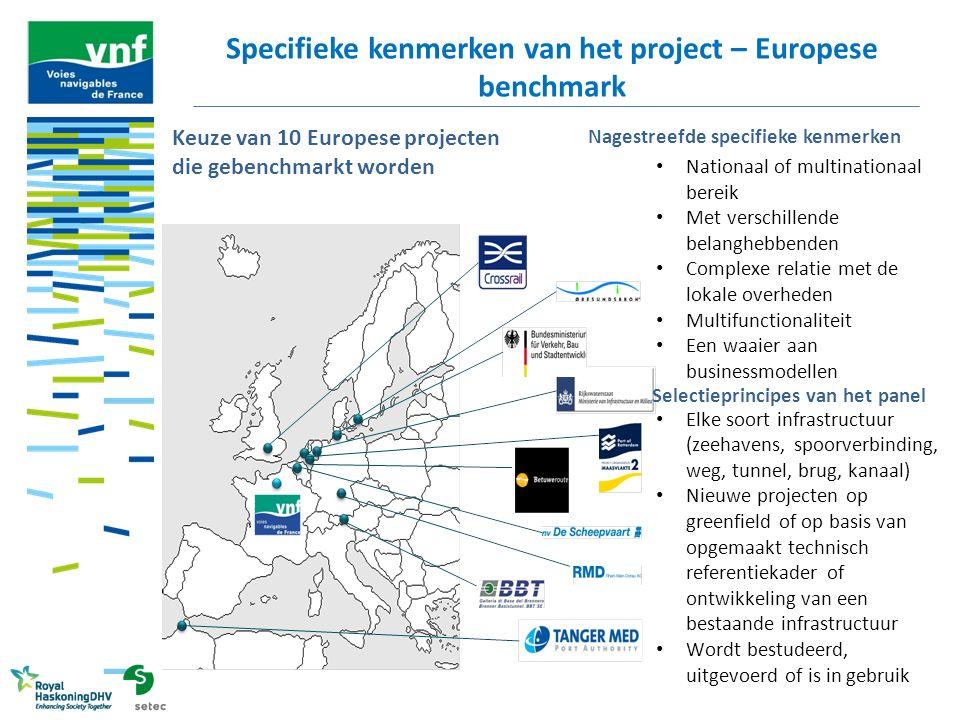 Specifieke kenmerken van het project – Europese benchmark