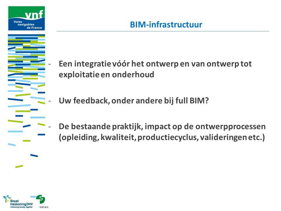 BIM-infrastructuur Een integratie vóór het ontwerp en van ontwerp tot exploitatie en onderhoud. Uw feedback, onder andere bij full BIM