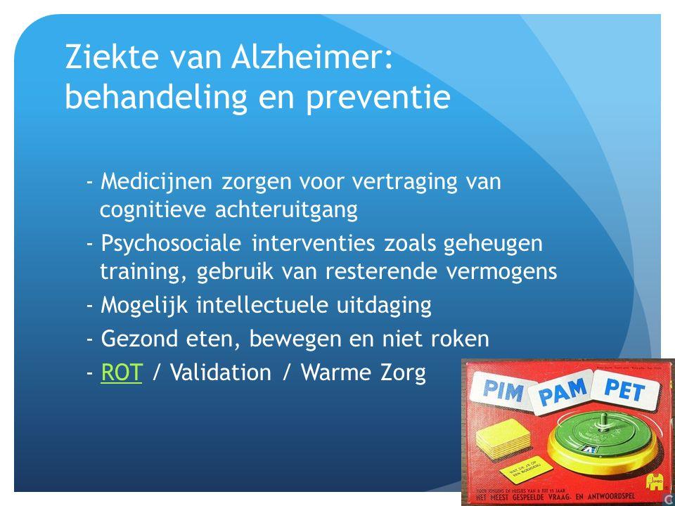 Ziekte van Alzheimer: behandeling en preventie