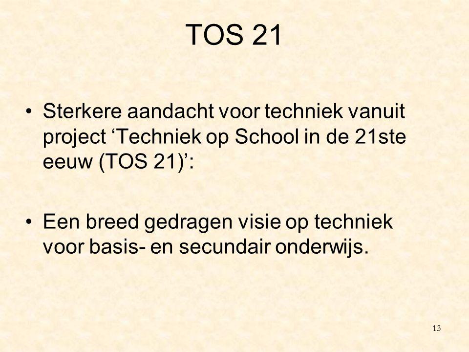 TOS 21 Sterkere aandacht voor techniek vanuit project 'Techniek op School in de 21ste eeuw (TOS 21)':