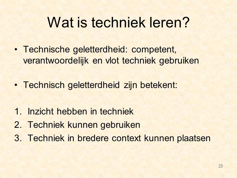 Wat is techniek leren Technische geletterdheid: competent, verantwoordelijk en vlot techniek gebruiken.