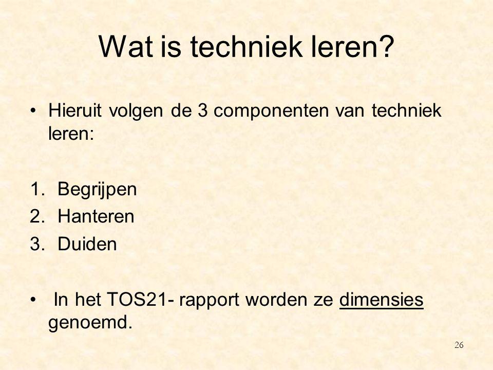 Wat is techniek leren Hieruit volgen de 3 componenten van techniek leren: Begrijpen. Hanteren. Duiden.