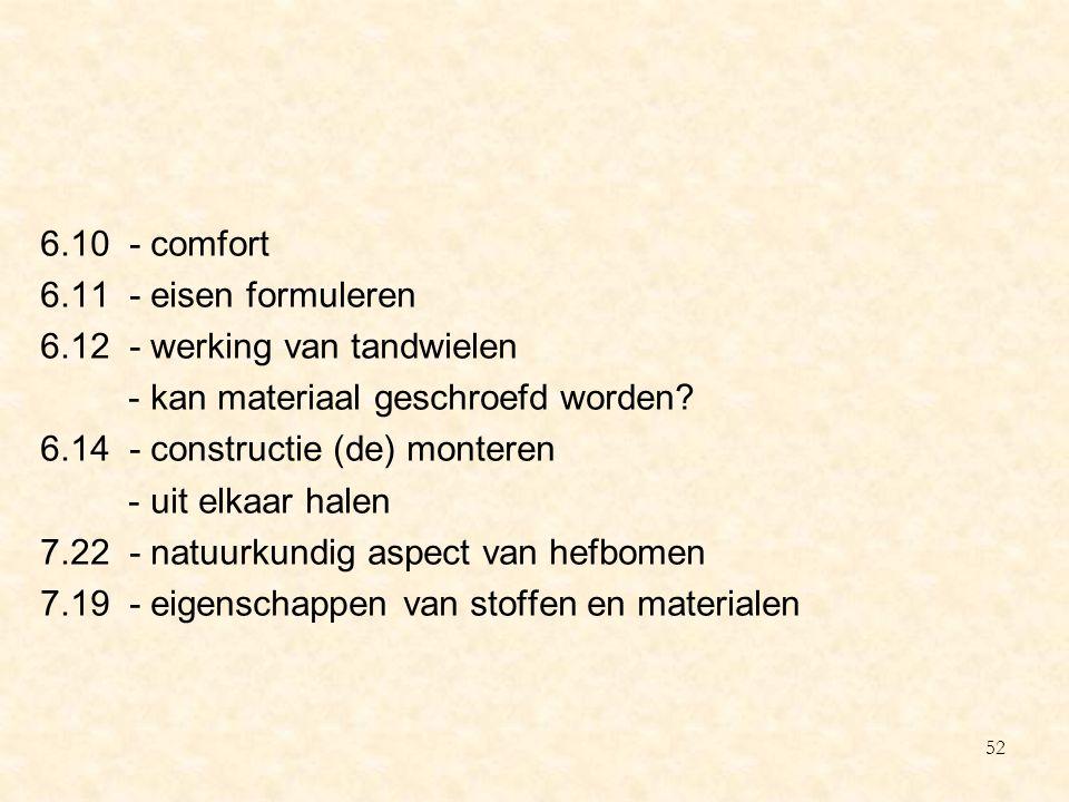 6. 10 - comfort 6. 11 - eisen formuleren 6