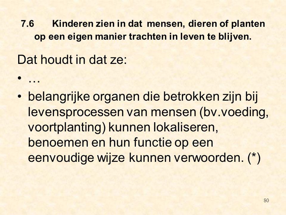 7.6 Kinderen zien in dat mensen, dieren of planten op een eigen manier trachten in leven te blijven.