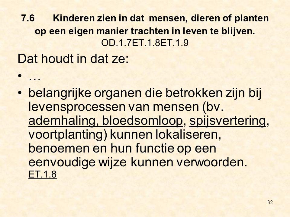 7.6 Kinderen zien in dat mensen, dieren of planten op een eigen manier trachten in leven te blijven. OD.1.7ET.1.8ET.1.9