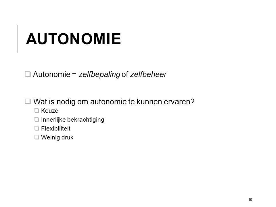 Autonomie Autonomie = zelfbepaling of zelfbeheer