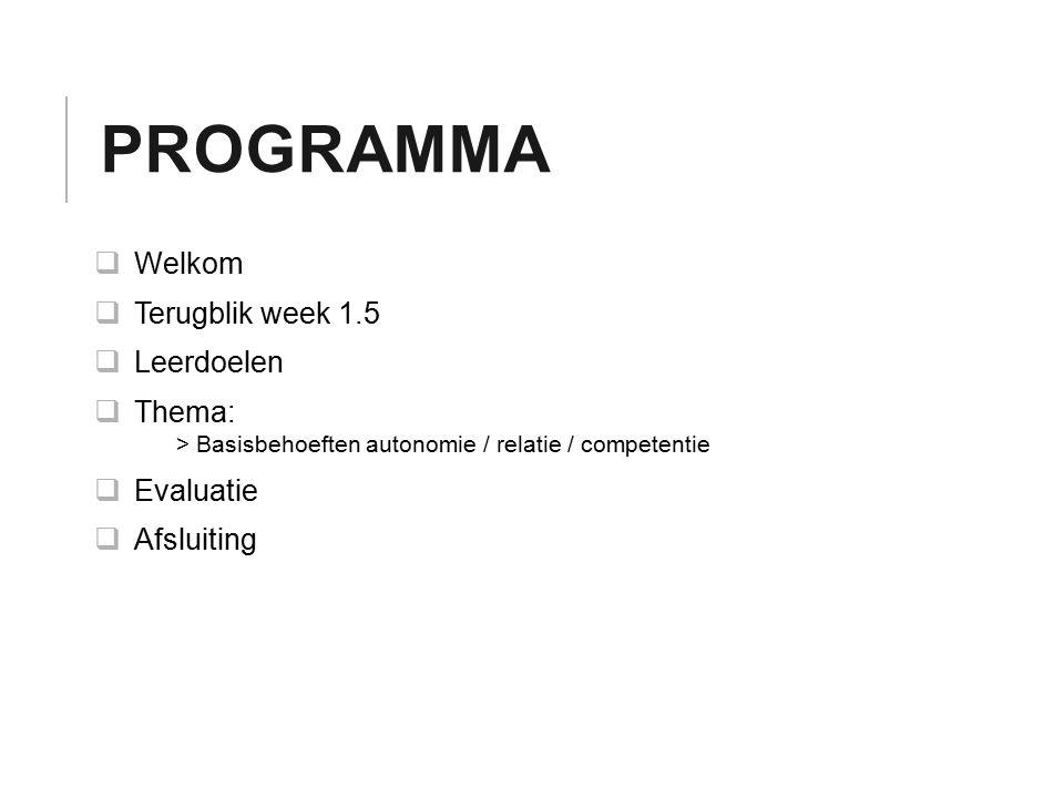 Programma Welkom Terugblik week 1.5 Leerdoelen Thema: Evaluatie
