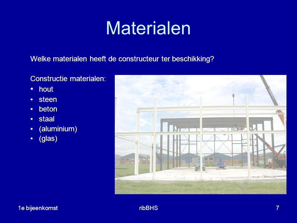 Materialen Welke materialen heeft de constructeur ter beschikking Constructie materialen: hout. steen.
