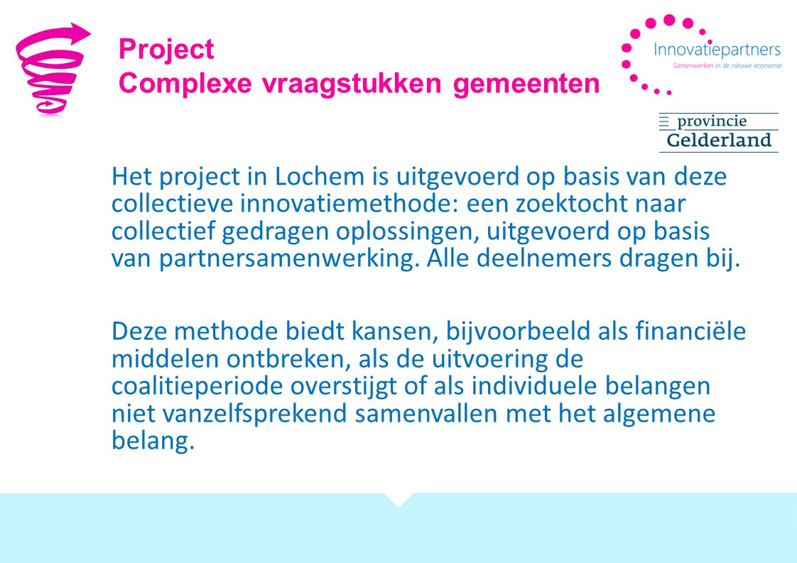 Project Complexe vraagstukken gemeenten.