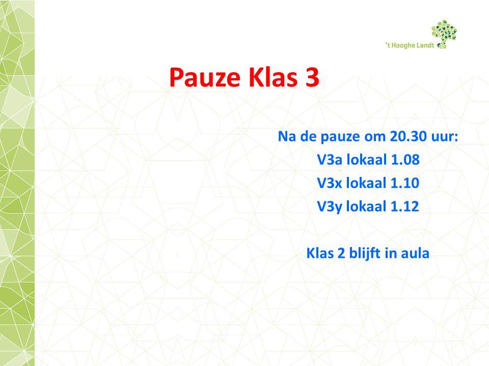 Pauze Klas 3 Na de pauze om 20.30 uur: V3a lokaal 1.08 V3x lokaal 1.10