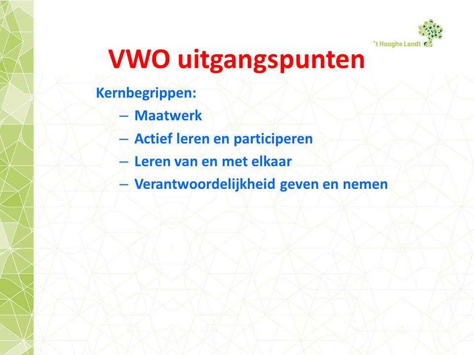 VWO uitgangspunten Kernbegrippen: Maatwerk