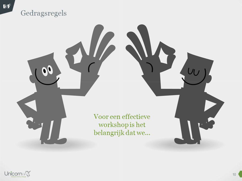 Voor een effectieve workshop is het belangrijk dat we…