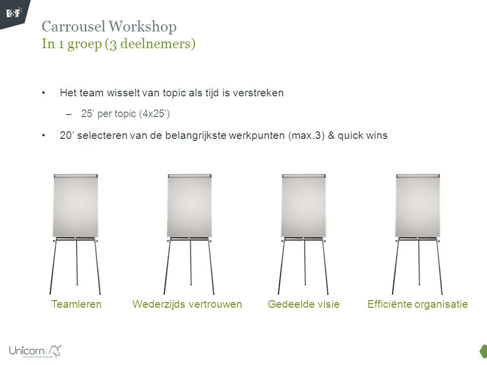 Carrousel Workshop In 1 groep (3 deelnemers)