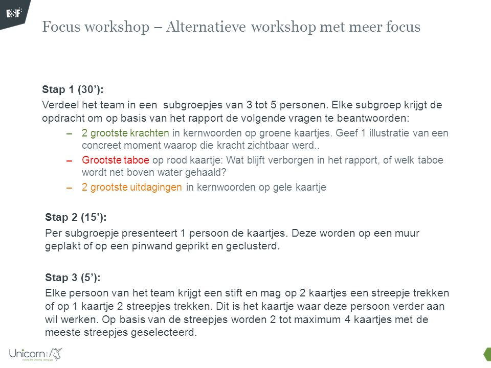 Focus workshop – Alternatieve workshop met meer focus