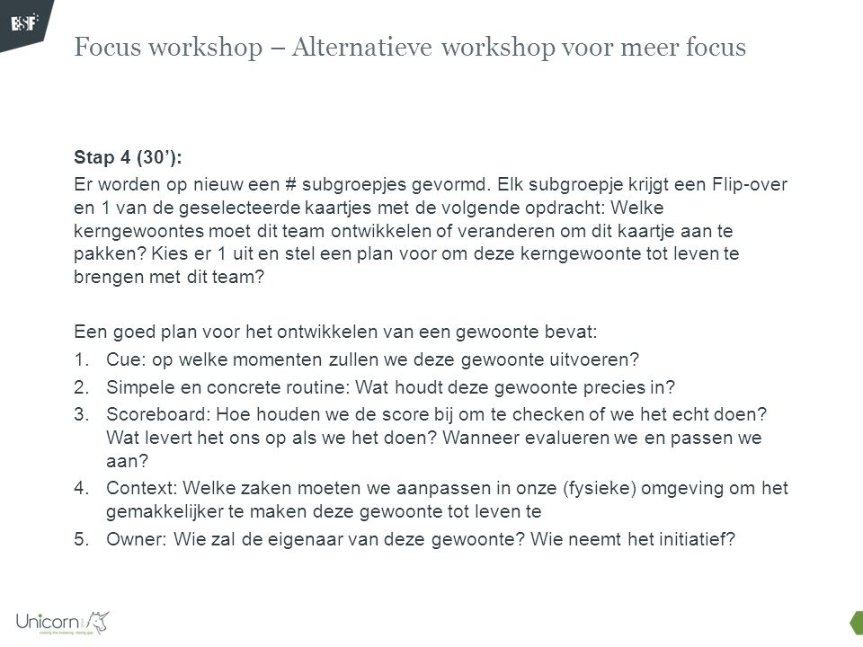 Focus workshop – Alternatieve workshop voor meer focus