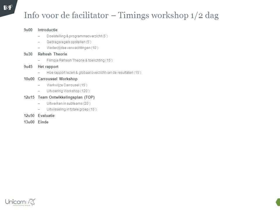 Info voor de facilitator – Timings workshop 1/2 dag