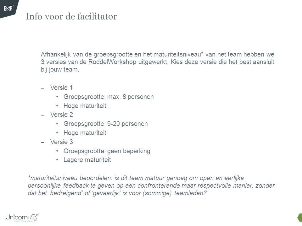 Info voor de facilitator