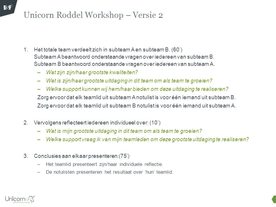 Unicorn Roddel Workshop – Versie 2